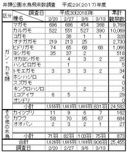 井頭公園水鳥飛来数調査2018.3.13