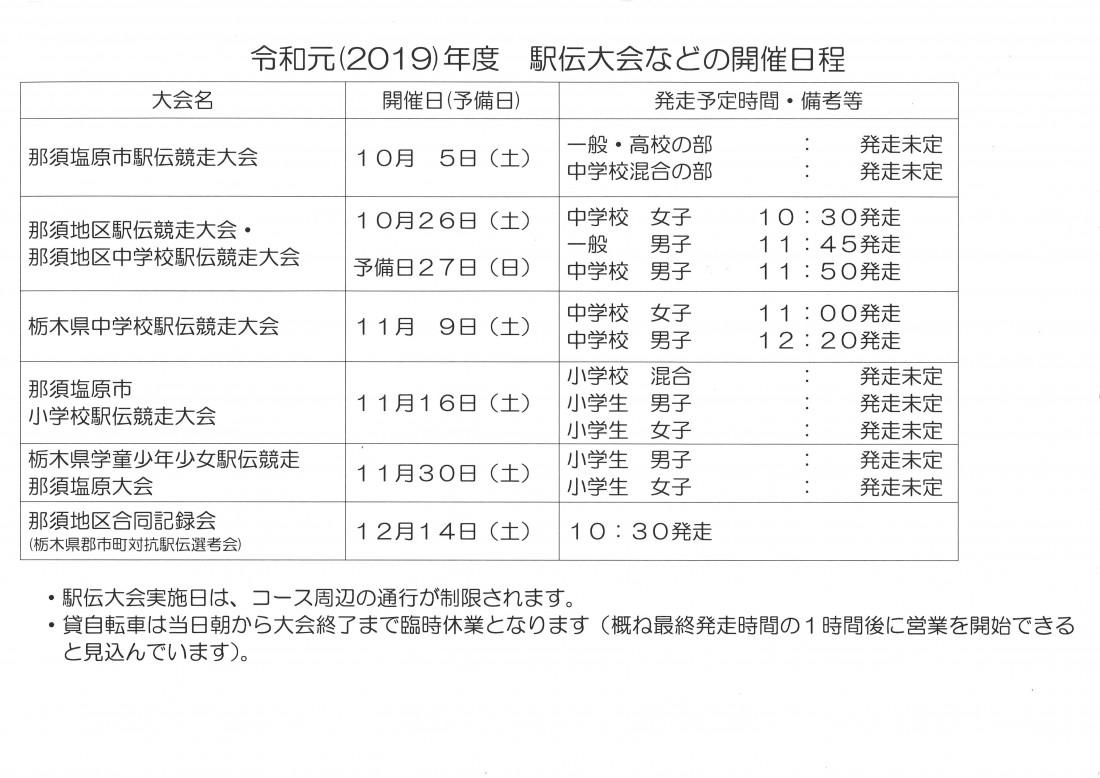 駅伝大会開催日程2019
