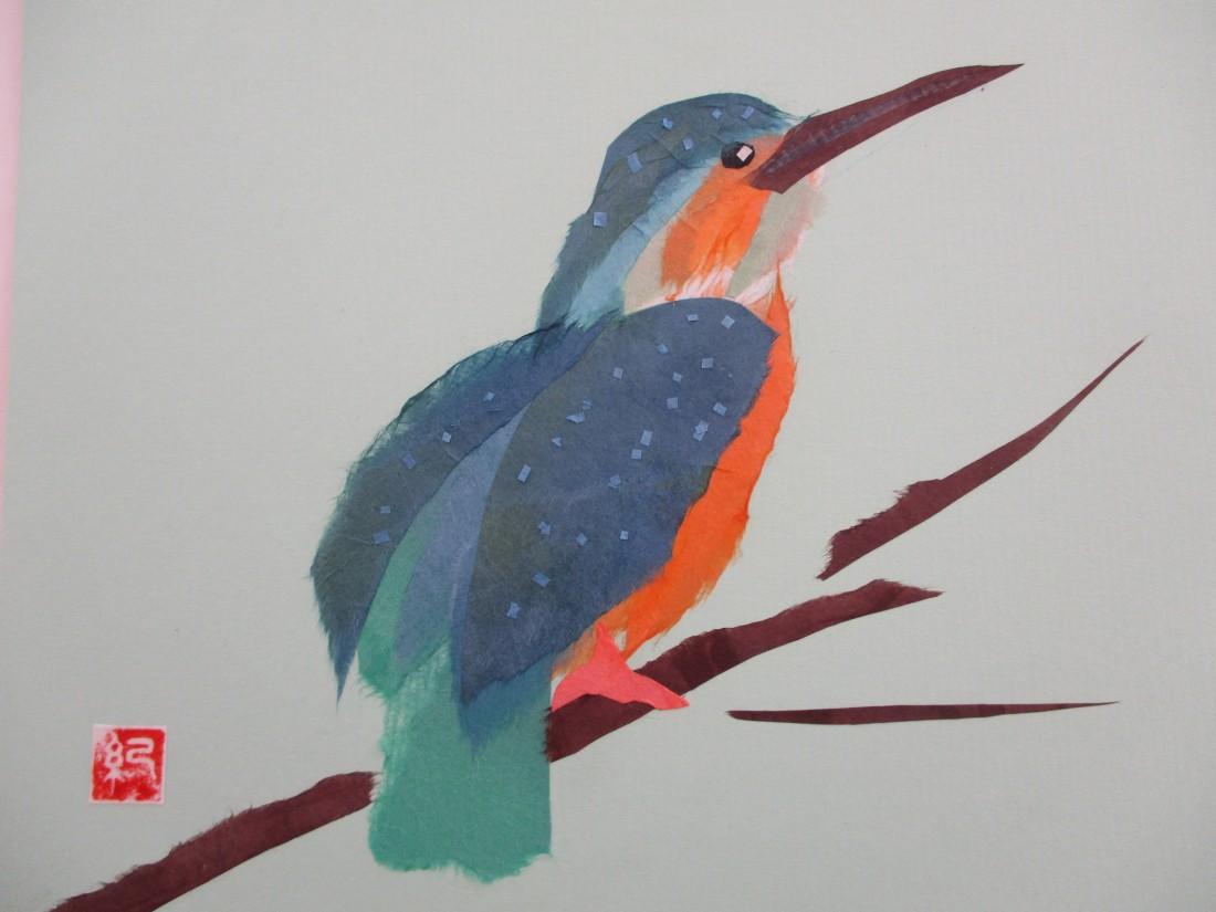 和紙ちぎり絵~鳥を貼ってみよう~