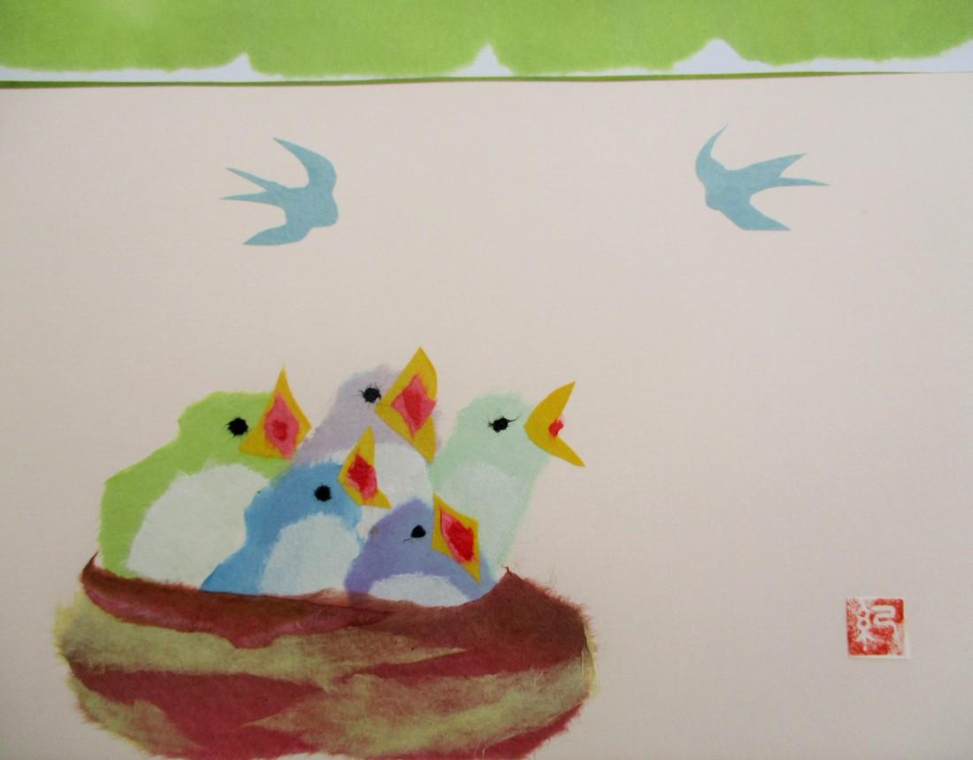 和紙ちぎり絵~'鳥を貼ろう'~
